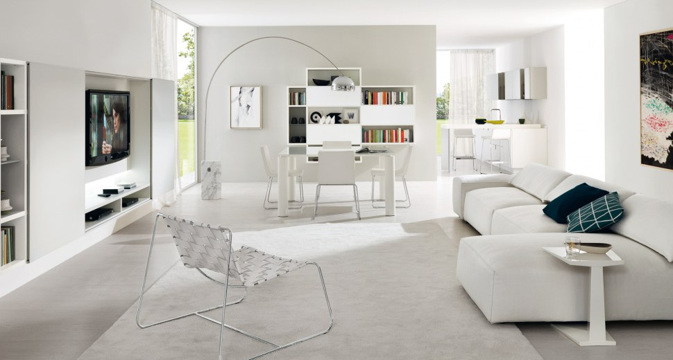 Salone Con Parquet White Interior Design : Arredare gli interni con il total white all insegna dell