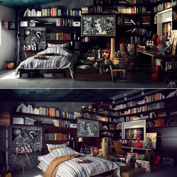 Idee per arredare o rinnovare la camera da letto con stile - Camera da letto con libreria ...